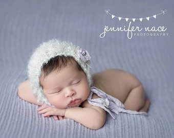 Newborn Props//Newborn Mohair Bonnet with Lavender Flower//Photography Props//Knit Baby Hat//Baby Bonnet//Baby Gift//Newborn Girl Hat