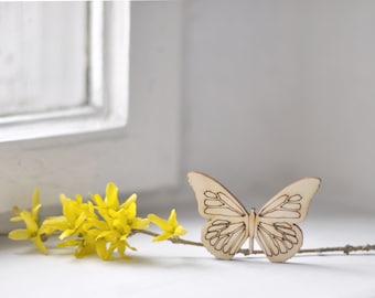 Big 7cm wooden butterfly shape - natural wood -  ready to decorate - unpainted - unfinished - make your own necklace DIY