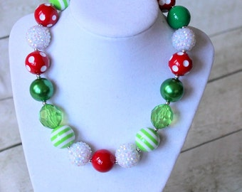 christmas chunky necklace for girls christmas necklace bubblegum necklace toddler red green white holiday girls chunky bead necklace