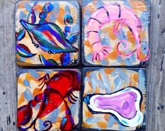 Set of 4 - Four Seasons of Seafood Coasters