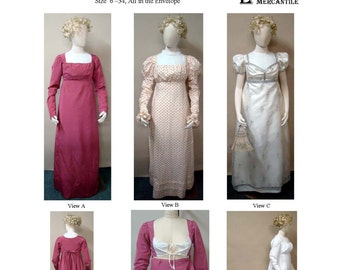 LM126 - 1800-1810 Ladies' Round or Trained Gown with a High Stomacher Front Sewing Pattern by Laughing Moon