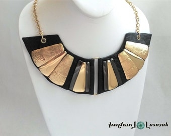 Statement Bib Leather NECKLACE Unique and Handcrafted. Gold metal pieces and chains. Wedding, Evening, Fashion, Trendy,  Lusnyak Designs
