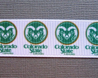 "Limited-Time Sale!  COLORADO STATE RAMS 7/8"" Grosgrain Craft Ribbon - 3 Yards"