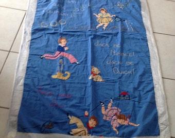 Beautiful Vintage Handmade Appliquéd Children's Nursery Rhymes Blanket