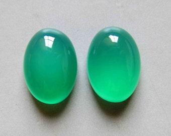 2pcs Green Chalcedony Oval Cabochon Flat Back Stones 16mm x 12mm  - B666