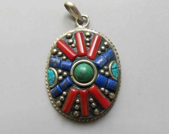 Tibetan Brass Pendant With Lapis Lazuli and Turquoise Coral Inlay  - A396