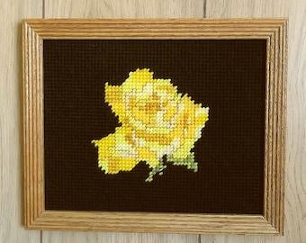 Framed Needlepoint Yellow Rose