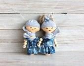 Rag doll,  Mini Doll, child friendly, pair of dolls, cloth rag dolls, miniature, eco frendly