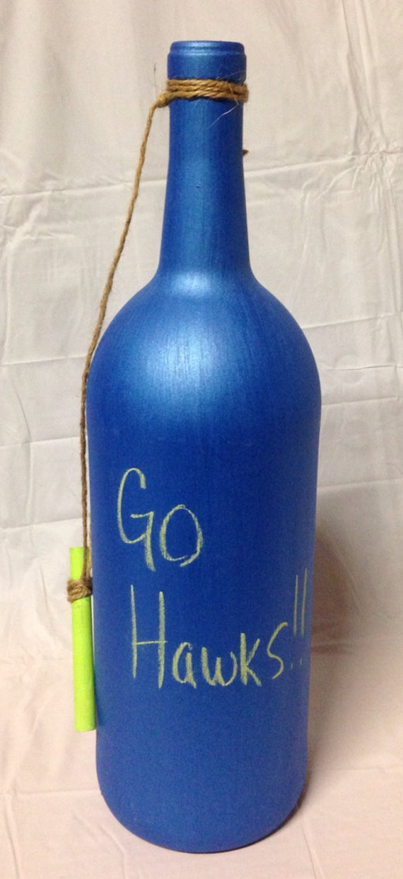 Items similar to seahawks colored chalkboard wine bottle for Colored bottles for decorations
