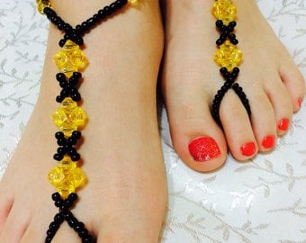 Black All Pearl and Crystal Wedding Barefoot Sandals, Barefoot Anklet