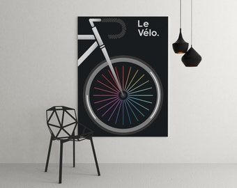 Le Velo Noir Medium Cycling Tour De France Print