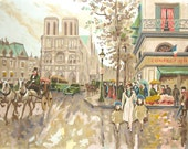Rare Vintage French Paint by Number Painting of Notre Dame Mid Century
