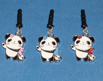 Panda with Baby Cell Phone Dust Plug Charm Attached