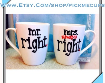 His Hers Coffee Mug Set - Mr and Mrs Right - MR and MRS coffee cups- wedding gift - anniversary gift- Shower gift