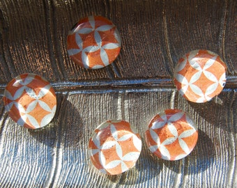 Orange Circle Glass Magnets - Set of 5