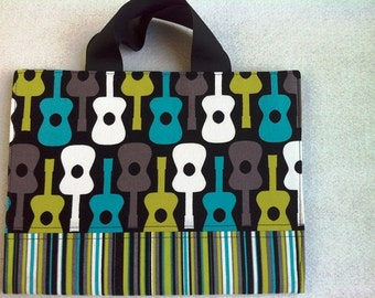 Childrens Guitar Pattern Boy Or Girl Large Portfolio Carrier Comes With Coloring Book And Crayons