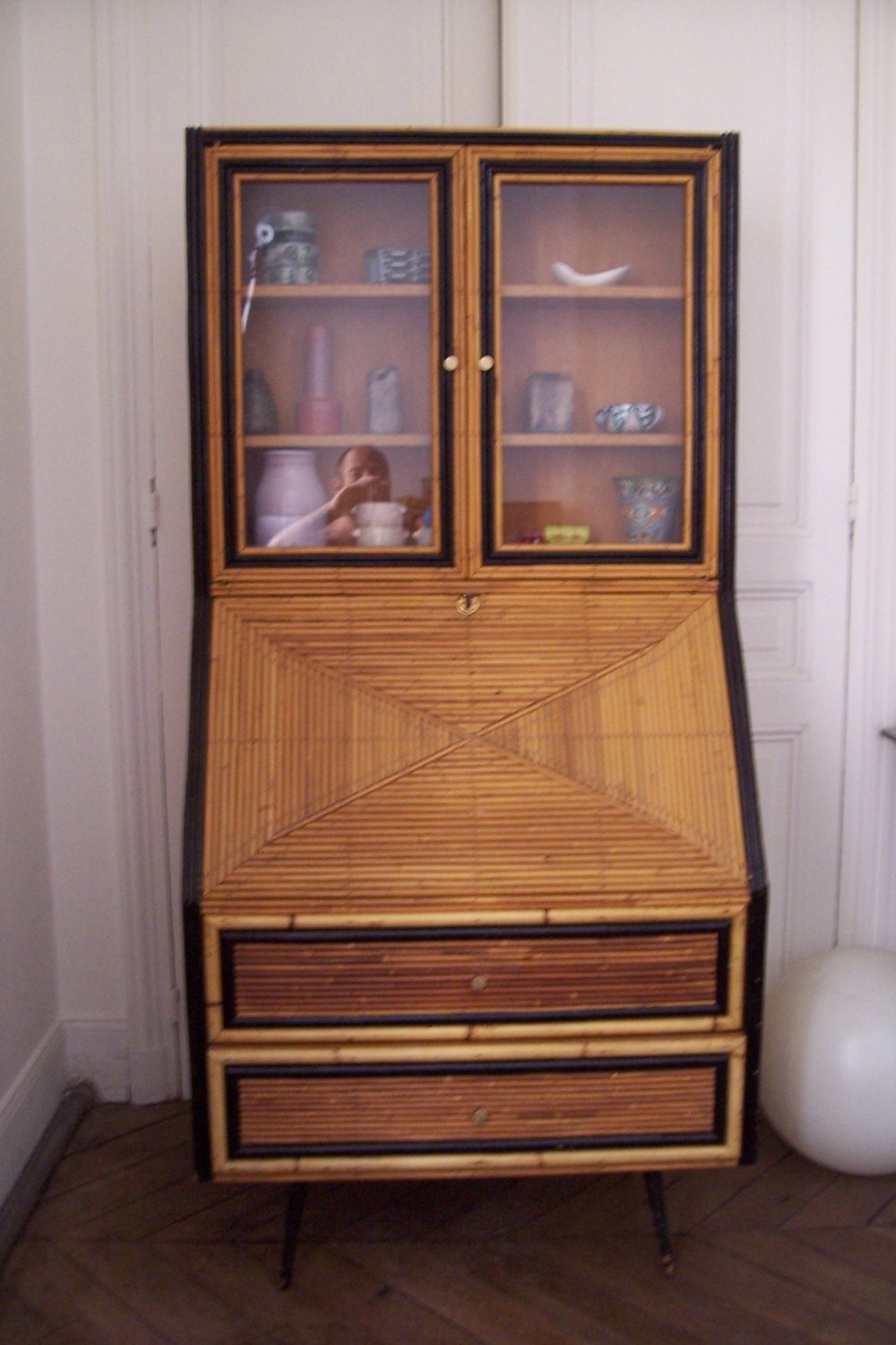 Meuble bureau secretaire vitrine vintage 1950 era par for Bureau secretaire meuble
