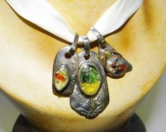 Vintage Silver Pendants Unusual Vintage Studio Silver Pendants with Multicoloured Glass Stones Circa 1970s