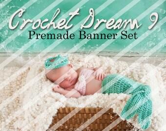 "Banner Set - Shop banner set - Premade Banner Set - Graphic Banners - Facebook Cover - Avatars - Bisiness Card - "" Crochet Dream 9"""