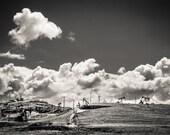 Oil derrick industry industrial fields pumps pumping clouds landscape men man cave office decor black and white fine art photography