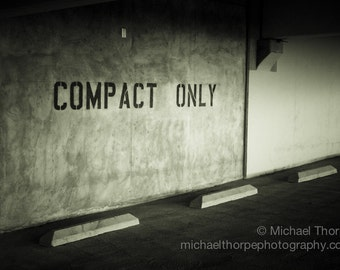parking garage compact only industrial mid century city urban fine art photography black and white print