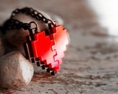 Pixel Heart Acrylic Necklace and Pendent for couple and gamer 8 bits design for couple and zelda gamer