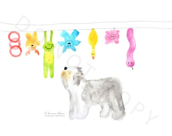 """Old English Sheepdog Watercolour """"Out to Dry"""""""