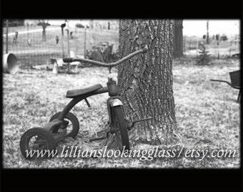 Rusty vintage tricycle photo print---Memory of Childhood