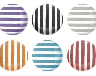 Custom Stripe Hand Painted Drawer Knob, Striped Drawer Pull, Single Knob