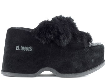 90's Goth Rabbit Fur & Black Suede Chunky Platforms