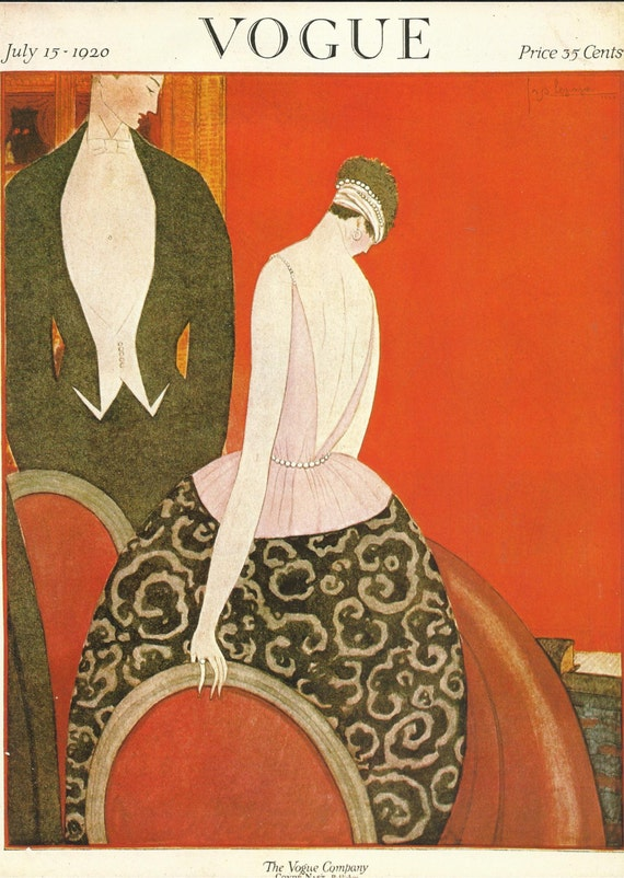 vogue magazine cover 1920 art deco man woman fashion red - Vogue Decor Magazine