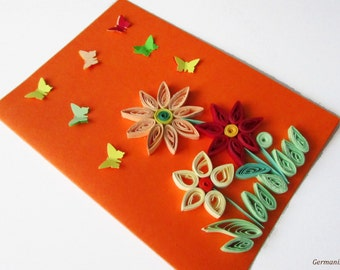 Quilling Card with Quilled Spring Flowers and 3D Butterflyies, Quilling Greeting 3D Card, Mother's day card, Blank birthday card
