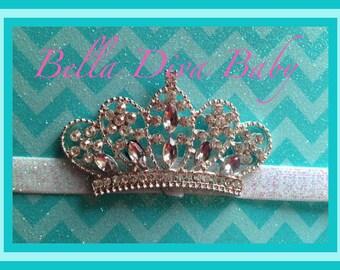Princess Tiara-crown Rhinestone BUTTON FLAT BACK -Rhinestone metal embellishment vintage to make hair accessories- Photo prop girls tiara