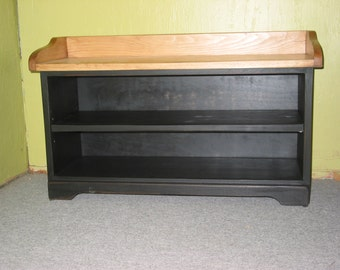 Black Shoe Bench / Entry Bench / Wooden Bench / Painted Black Wood Shoe Organizer / Hallway Shoe Bench / Rustic Bench / Mudroom Bench