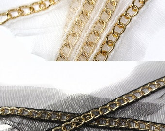 2 YARDS of Gold Chains Links Trim 0.4 ''