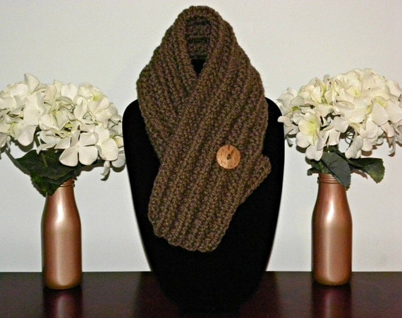 Brown Button Hole Scarf Hand Knit by KnitsByL on Etsy