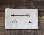 Embroidery Arrows Pencil Case, Beige lineen  Pouch, Pencil Case, Back to School, Cosmetic bag, Zipper Pouch