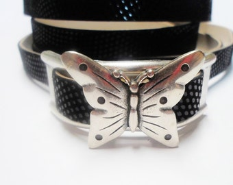 SALE: Large Butterfly Slider for 13mm Flat Leather or Multistrand Round Leather Bracelets,