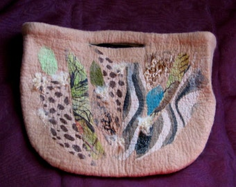 Felted Purse Nuno felted handbag Safary. Made for order.