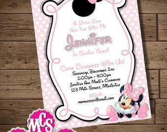 MINNIE MOUSE INVITATION, Polka Dot Invitation, My Celebration Shoppe, Printable Invitation, Birthday Card, Polka Dot, Party Invitation