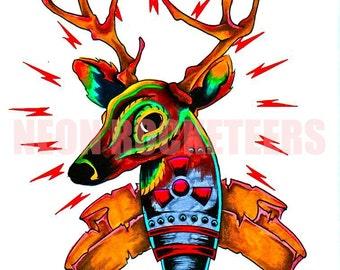 8x10 Deer Bomb Original Watercolor Antlers Animal Tattoo Art Print
