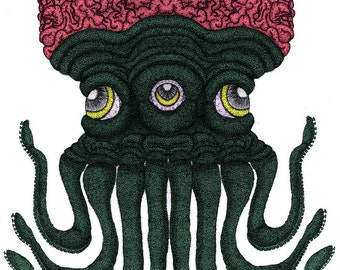 Octopus Brains Colored- Pen and Ink Illustration