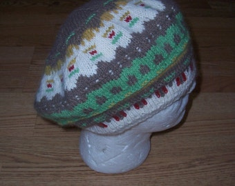 Yarn for Green Meadow Mittens or Tam- includes the color gragh and pattern for the tam.