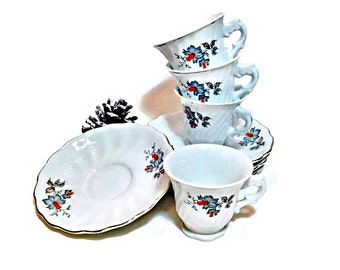 4 Demitasse or Child Size Tea Cups and Saucers, Shabby Home Decor, Downton Abbey Favor!
