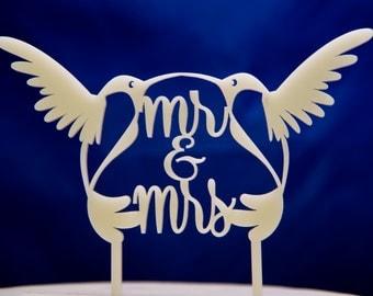 Wedding Cake Topper  - Hummingbirds wedding cake topper - Mr. and Mrs. Birds Wedding Cake Topper - Hummingbird cake topper
