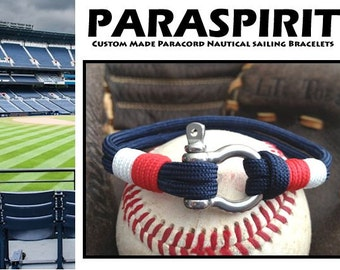 Minnesota Twins Nautical Bracelet with Whipped Ends and Stainless Steel Shackle