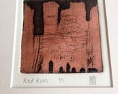 Original Intaglio Zinc Metal Framed Etching Print Red Ruin