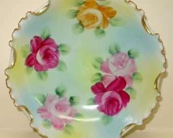 Nippon Hand Painted Footed Bowl, Floral Porcelain Dish
