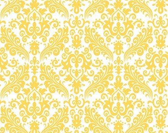 """Yellow Damask Fabric by Riley Blake Designs """"Hollywood"""" by The RBD Designers. Modern Prints. 100% cotton, C820-50. - By the 1/2 Yard"""
