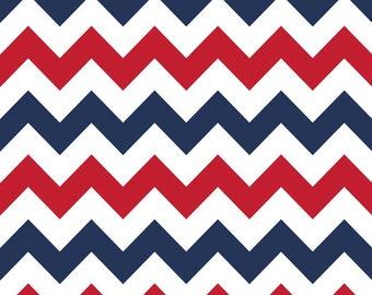 Red White Blue Medium Chevron Fabric - Patriotic or 4th July by Riley Blake. 100% cotton, Zig Zag Modern Fabric - c320-06